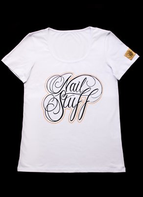 Nailstuff T-Shirt Deep Round Neck White
