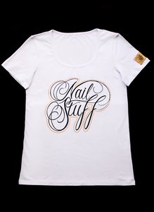 Nailstuff T-Shirt Diepe Rond Hals Wit